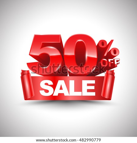 3d vector shiny red discount 50 percent off and sale on red ribbon. Vector illustration for promotion discount sale advertising. Foto stock ©