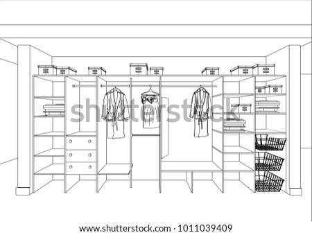3D vector sketch. Wardrobe in the interior. Big modern cupboard with folded and hanging clothes. Isolated. Home Interior Design Software Programs.Project management. Lines, projection, construction.