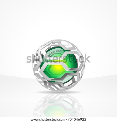 3d vector sphere with Honeycombs surface and a green shine pearl inside. Globe with hexagones and green perl in the ball. Abstract Globe Logo Concept for technology, science, progress, discoveries