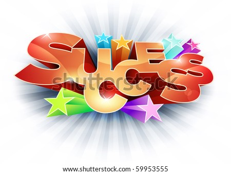 3d vector Success text. All elements are separated layers in vector file.