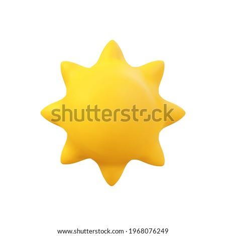 3d Vector Sun realistic illustration. Summer Solar object isolated on white. Minimal cartoon weather sunshine render scene design