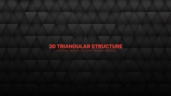 3D Vector Triangle Particles Technological Dark Gray Abstract Background. Three Dimensional Science Conceptual Technology Triangular Structure Darkness Wallpaper. Tech Blank Black Friday Backdrop