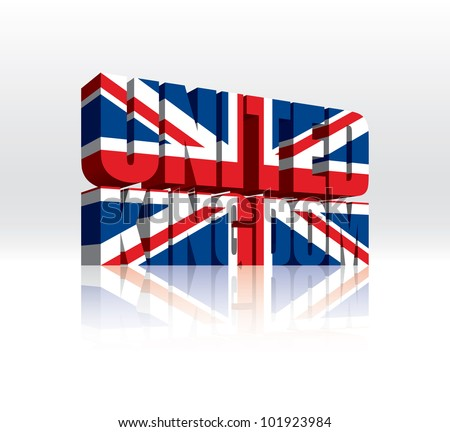 3D Vector United Kingdom Word Text Flag