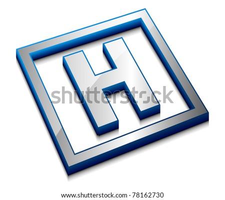 3d vector web design alphabet symbol - H