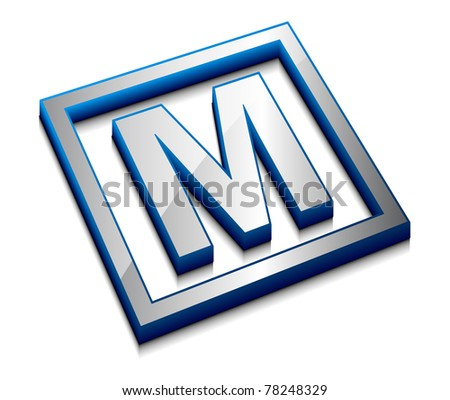 m 3d logo  3d vector web design
