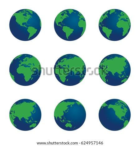 3d vector world globe set