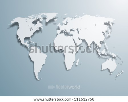 3d vector world illustration with smooth vector shadows and white map of the continents of the world-  design element for infographics, and other global illustrations - stock vector