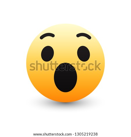 3D Vector Wow Emoticon Icon Design for Social Network Isolated on White Background. Modern Emoji Foto stock ©