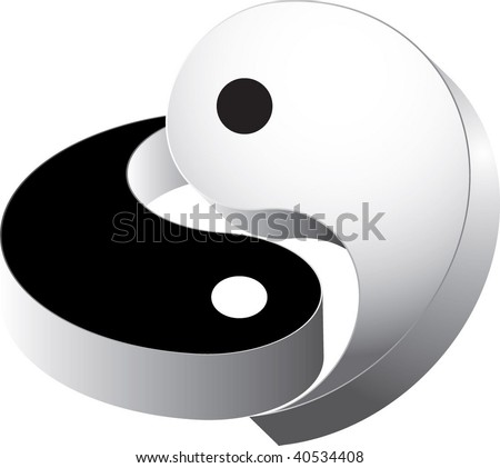 3d vector ying yang - stock vector