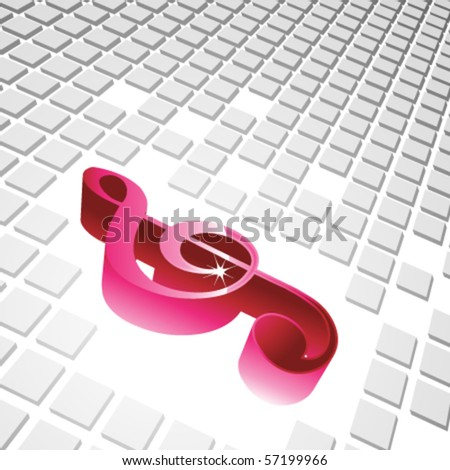 3D violin key with cubes background