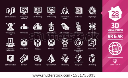 3D visualization icon set in dark mode with virtual & augmented reality (VR & AR) visual technology glyph symbols: graph data, glasses, chart, interactivity, hologram, printing, framework, 360 view.