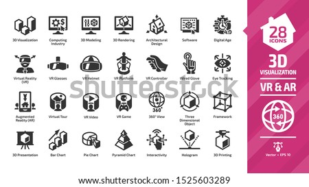 3D visualization icon set with virtual & augmented reality (VR & AR) visual technology glyph symbols: graph data, glasses, headset and helmet, computing industry, modeling, rendering and software.