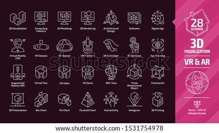 3D visualization outline icon set in dark mode with virtual & augmented reality (VR & AR) visual technology and presentation editable stroke line sign: three dimensional object, framework, graph chart