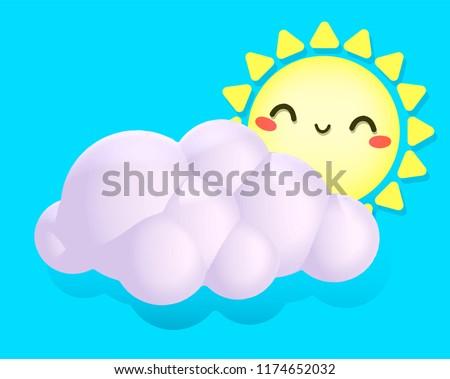 3d volumetric illustration happy sun and cloud