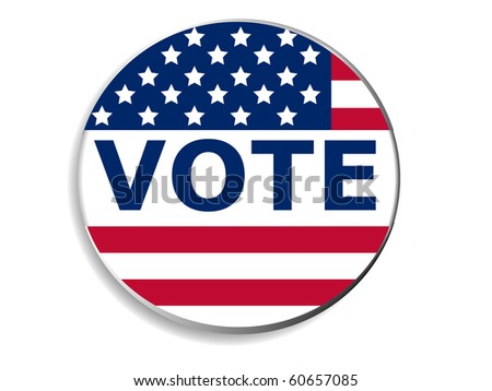 3d Vote pin with USA flag