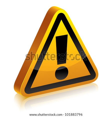 3d warning sign with exclamation point vector symbol.