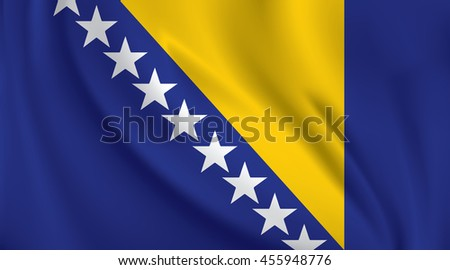 3d waving flag of bosnia and