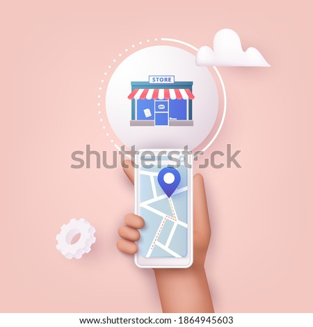 3D Web Vector Illustrations. Hand holding mobile smart phone with application search store. Find closest on city map.