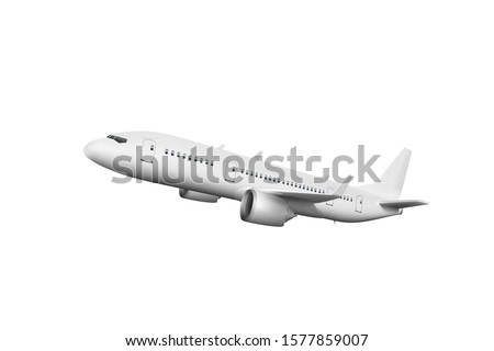 3D White Abstract Airliner Take Off On White Background. EPS10 Vector