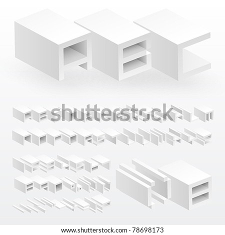 3d white alphabet and numbers. Vector illustration.