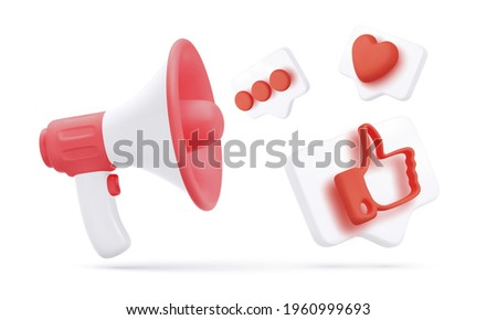 3d white and red megaphone with flying social icons isolated on white background. Concept design for promo banner. Vector illustration