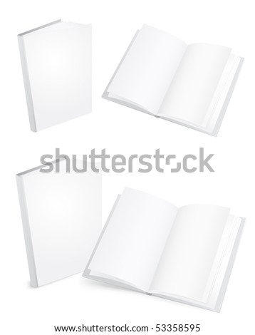 3d white books isolated on the white background