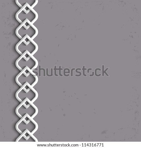 3d white border in arabic style. Vector illustration