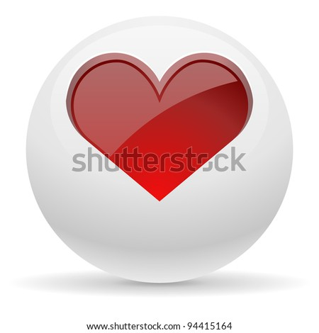 3D white button with red heart vector illustration.