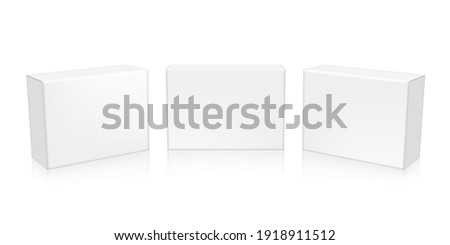 3D White Clear Mini Boxes Packaging. EPS10 Vector