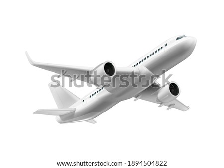 3D White Glossy Commercial Jet Airplane Take Off. EPS10 Vector