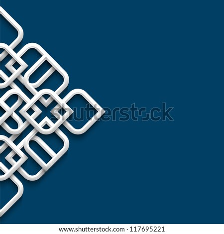 3d white ornament in arabic style. Vector illustration