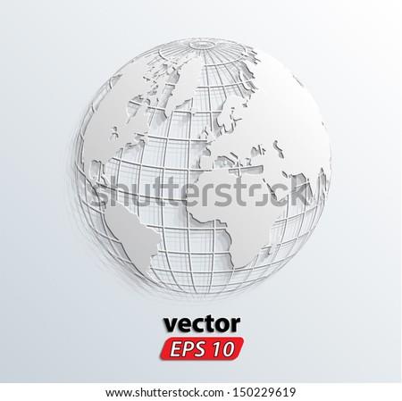 3d white relief world globe