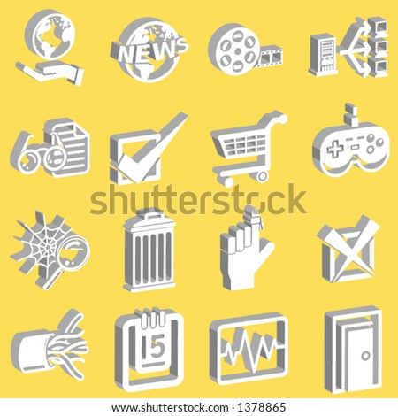 3d white web and internet icon series - stock vector
