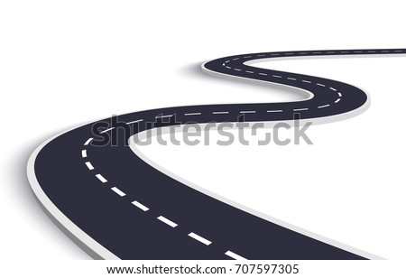 3D Winding Road on a White Isolated Background. Road way location infographic template. Vector EPS 10