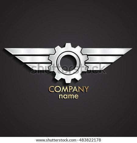 3d winged gear silver logo
