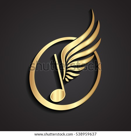 3d winged music note gold logo