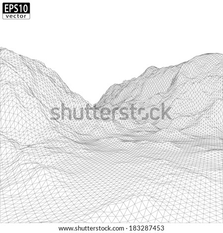3d wireframe mountain with
