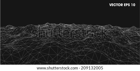3d wireframe of contour swirl