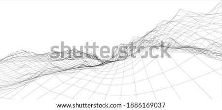 3D wireframe of contour swirl. Abstract wireframe background. vector Photo stock ©