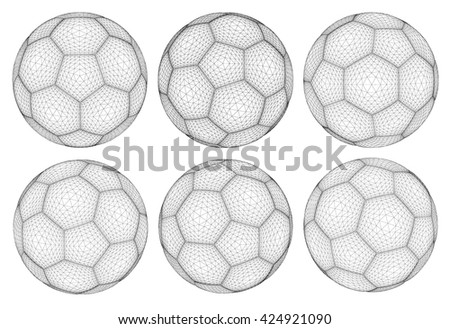 3d wireframe of soccer ball
