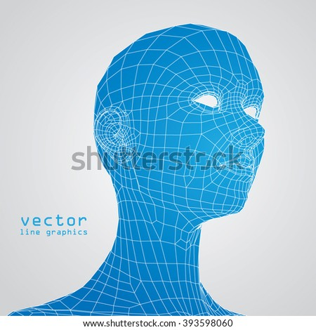 3d woman face anatomy study