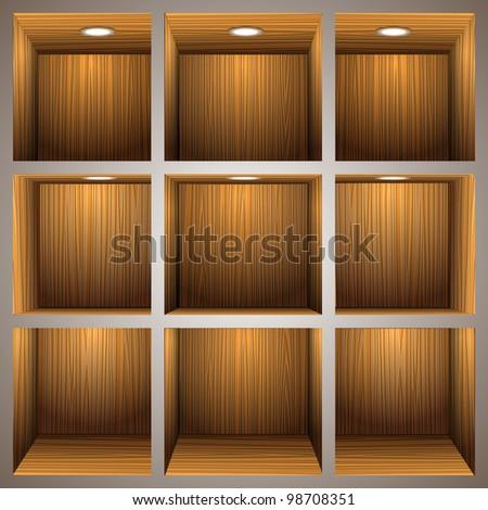 3d wooden shelves.Vector eps10