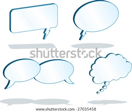 3D Word Balloons - vector illustrations - blue background is on a separate layer so it can easily be deleted.
