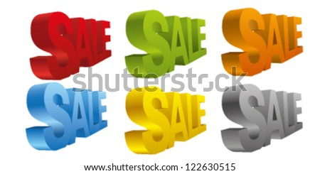 "3d word ""sale"" in different colors"