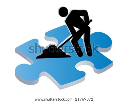 3d worker icon - stock vector