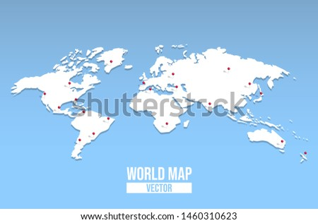 3d world map illustration with red pin locations. Empty globe template of worldwide destinations for education or travel concept.
