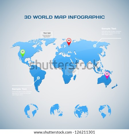 3D World map infographic with Globe icons