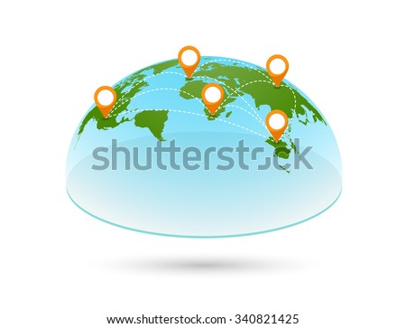 3d world map with pins global and earth continent travel vector geography