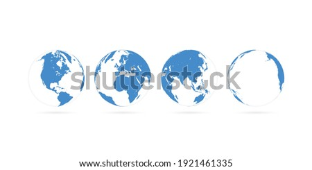 3D World Maps Primary Blue Color || 4 Views