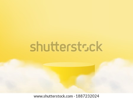 3d yellow background products display minimal pedestal scene with cloud platform. background vector 3d rendering with podium. stand to show cosmetic products. Stage mockup cosmetic on pedestal yellow